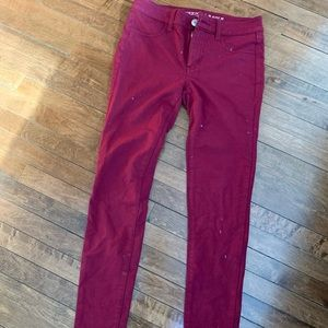 American Eagle Dark Red Skinny Fabric Pants
